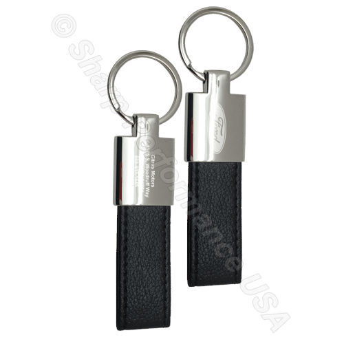 K0205 – Custom Leatherette & Metal Keychain Zinc w/ Shiny Nickel Finish