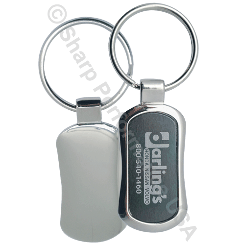 K0342 – custom logo metal key tag keychain w/ Pearl Nickel Finish