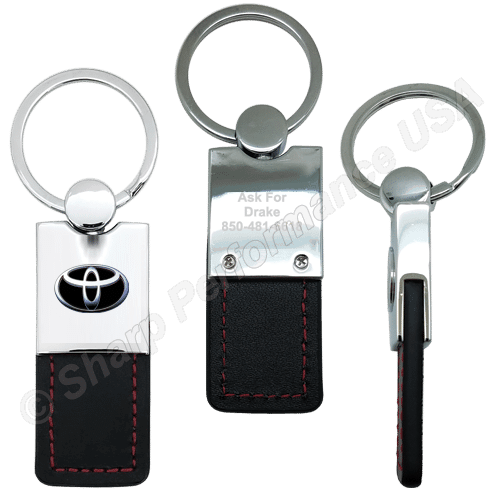 K0206 - Leatherette & Metal Keychain with Contrast Stitching ~ Also available in Leather Materials